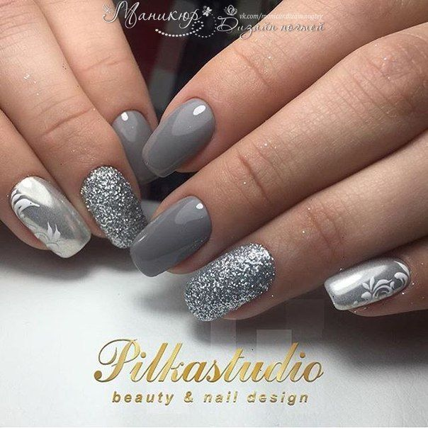 Silver nails - Silver Nails Uñas Pinterest Silver Nail, Manicure And Makeup