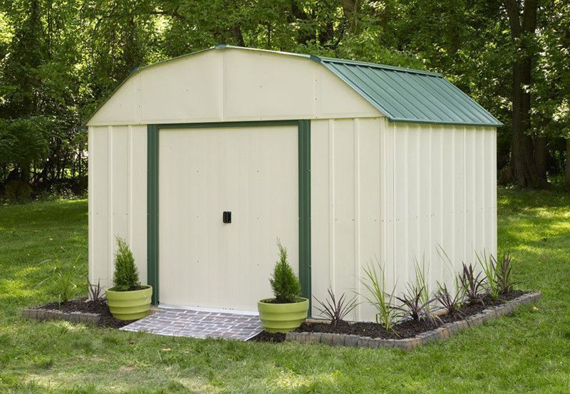 Features Vinyl Sheridan 10 Ft X 8 Ft Vinyl Coated Steel Storage Shed 10 X 8 Ft 3 0 X 2 3 Steel Storage Sheds Metal Storage Sheds Vinyl Storage Sheds
