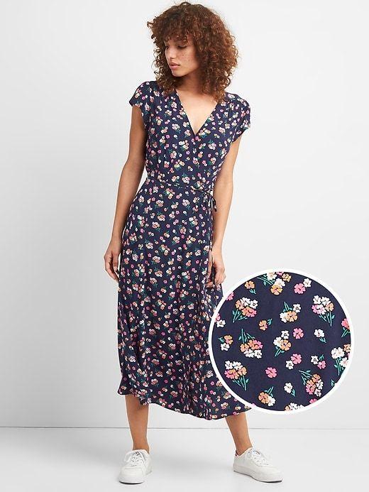 0734b3335e3 Gap Womens Floral Print Midi Wrap Dress Navy Floral