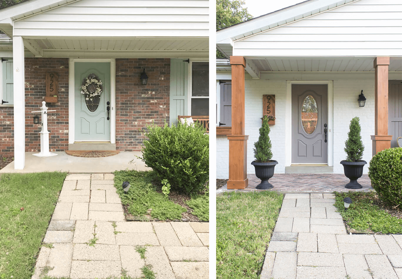 Before After Porch Makeover With Textured To Plain Ideas Front