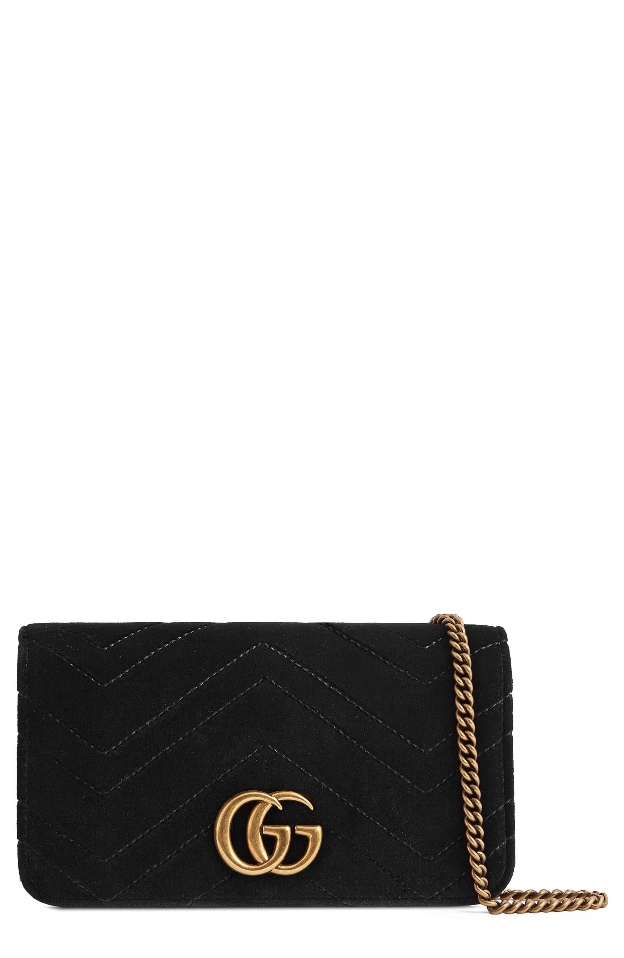 42ea95a4f Women's Gucci Gg Marmont 2.0 Matelassé Velvet Shoulder Bag - Black ...