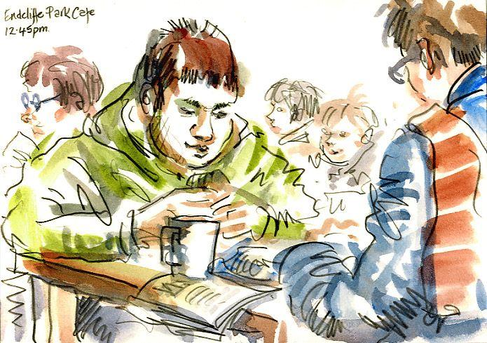 Urban Sketchers: Sheffield Sketchcrawl: Cafe in the Snow