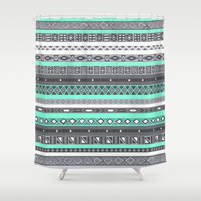 Tiffany Turquoise Aztec Print Shower Curtain By Rexlambo 68 00