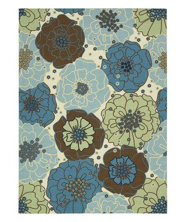 Another great find on #zulily! Light Blue Floral Home & Garden Indoor/Outdoor Rug #zulilyfinds