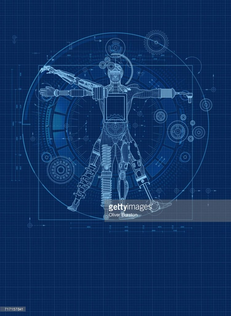 Stock illustration blueprint design for robotic vitruvian man stock illustration blueprint design for robotic vitruvian man malvernweather Choice Image