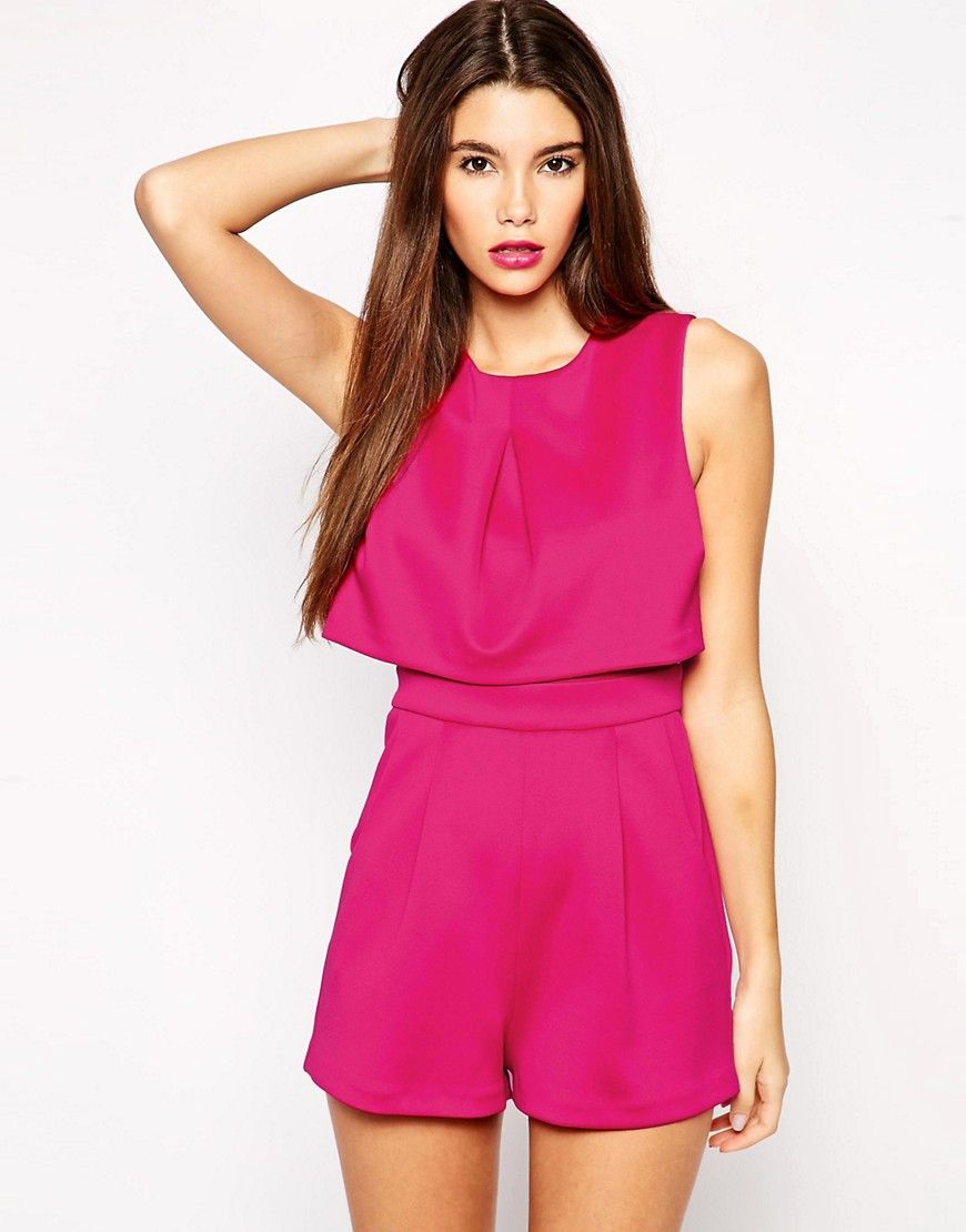 Image 2 of ASOS PETITE Exclusive Scuba Playsuit with Open Back ...