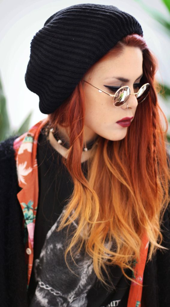 Braid in the front and red ombre hair. Love it.