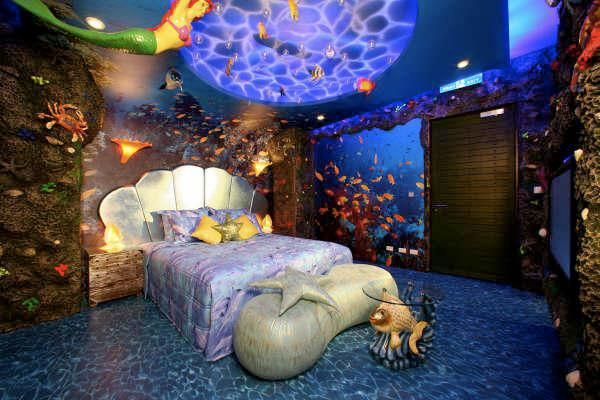 Under the sea inspired bedroom.