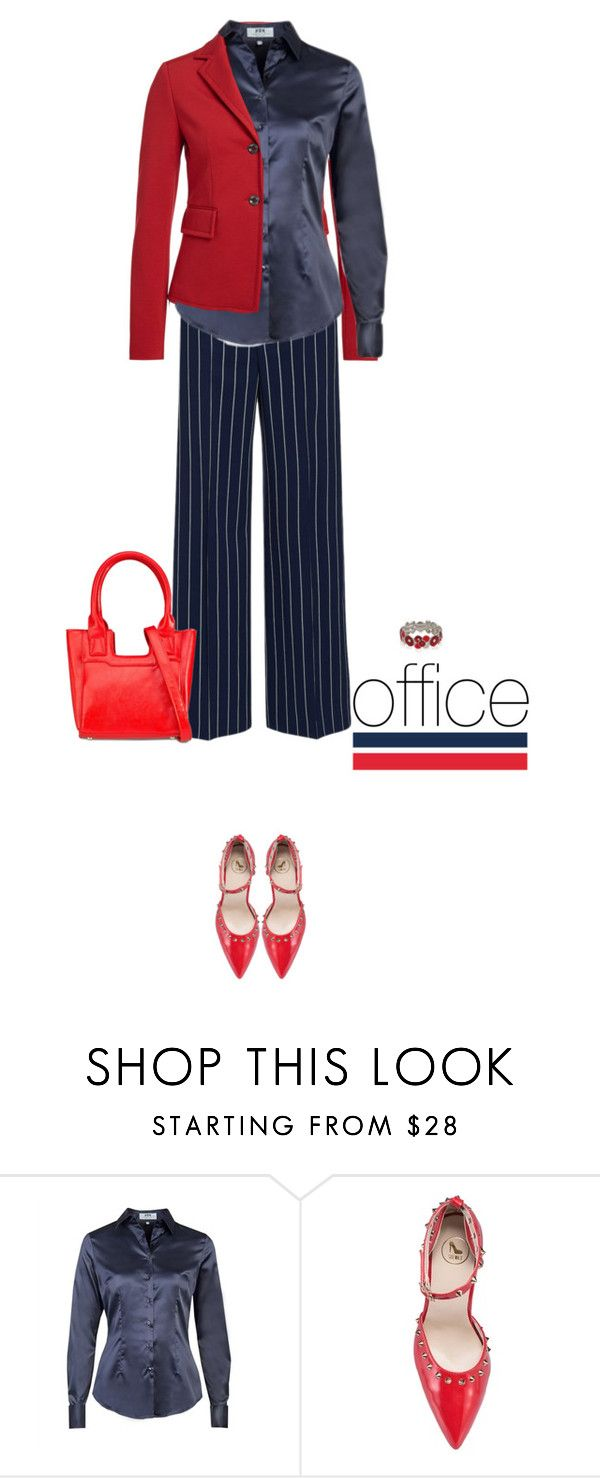 """Office outfit: Navy - Red"" by downtownblues ❤ liked on Polyvore"