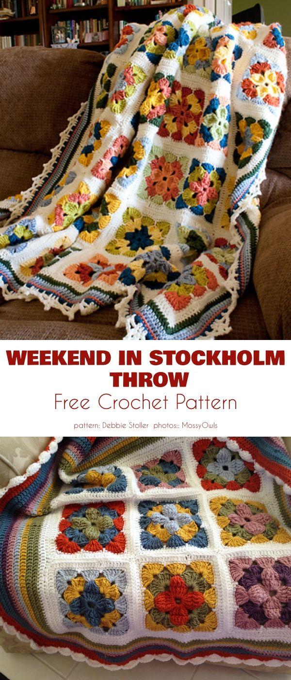 Flower-Based Square Blanket Free Crochet Patterns