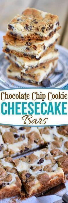 CHOCOLATE CHIP COOKIE CHEESECAKE BARS - cheesecake, chocolate, cookie, dessert recipes