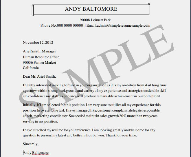 Example Cover Letter For Resume Free - http://www.resumecareer.info ...