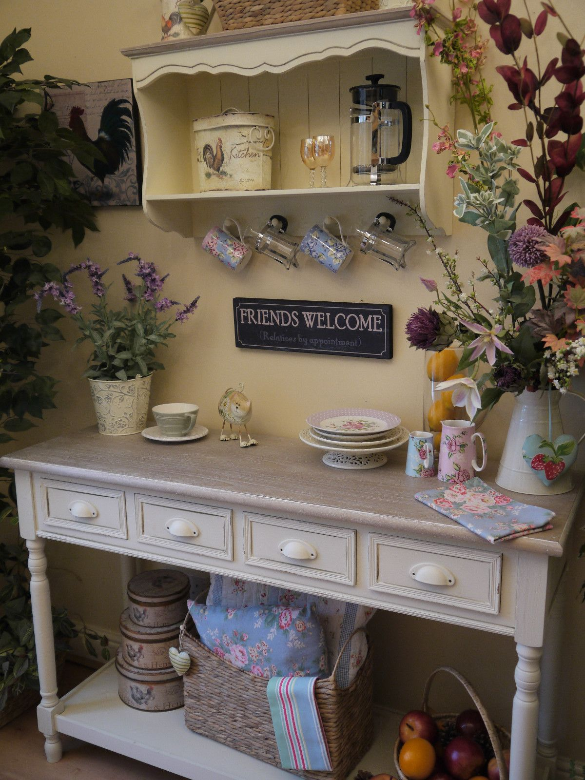 Shabby Chic Country Farmhouse Style Cream Console Side Table Sideboard Dresser