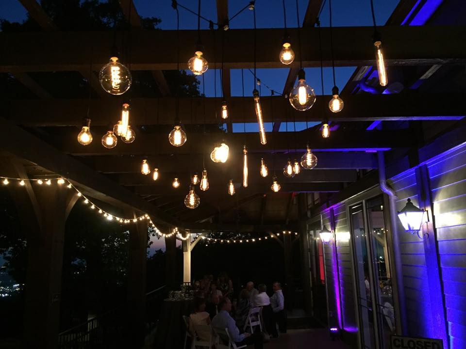 Vintage Edison Bulb Cafe String Lighting With Uplighting By Music Mike DJ Services Wedding Reception