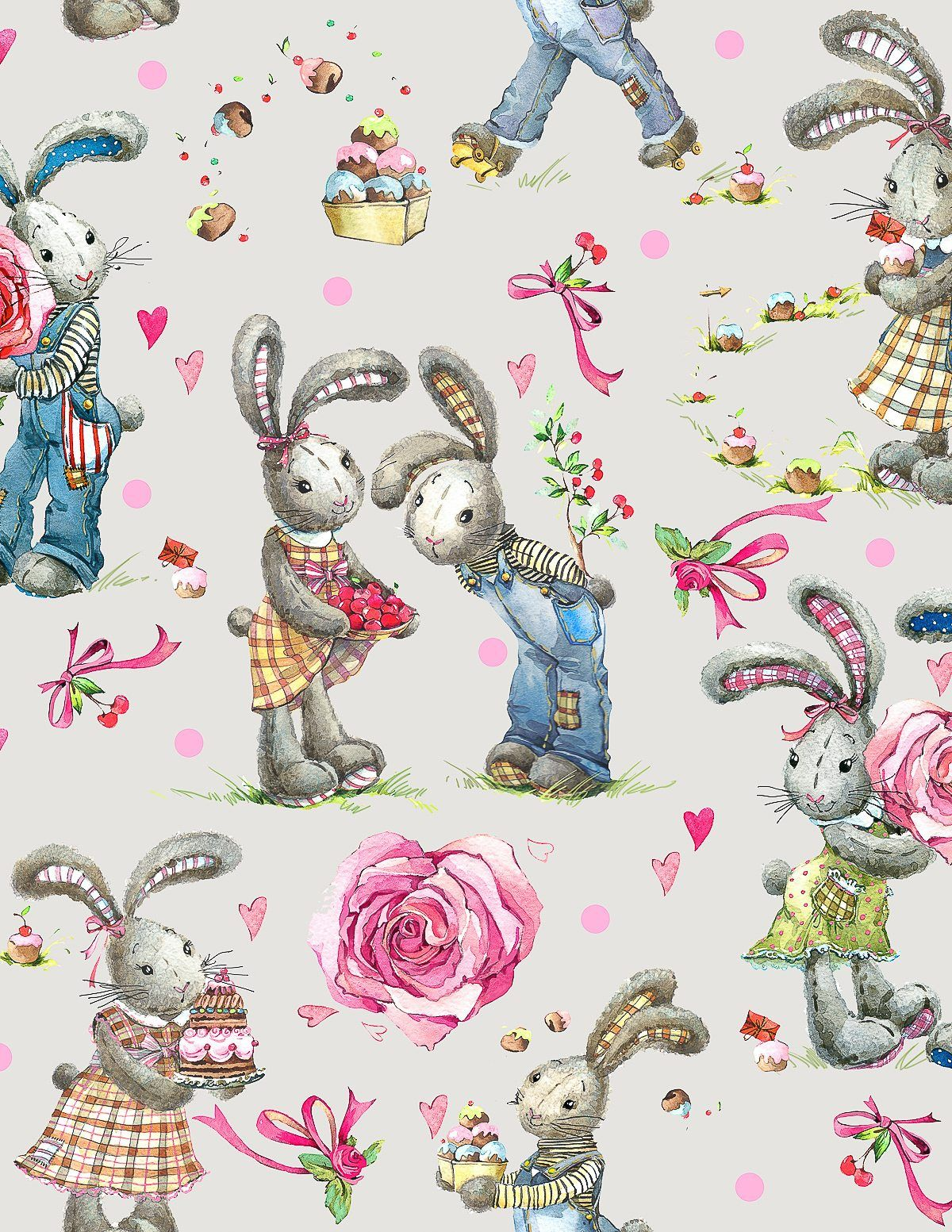 Sweet Watercolor Bunny Gift Wrap Free Printable Easter