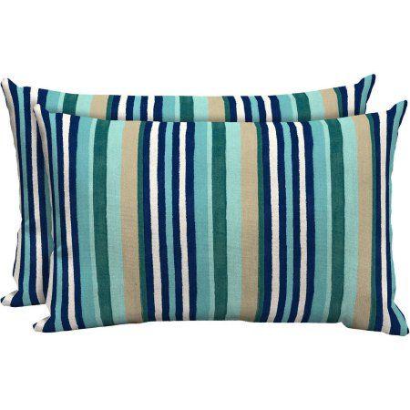 Ordinaire Mainstays Outdoor Patio Lumbar Pillow, Set Of 2, Multi Dot Stripe, Blue