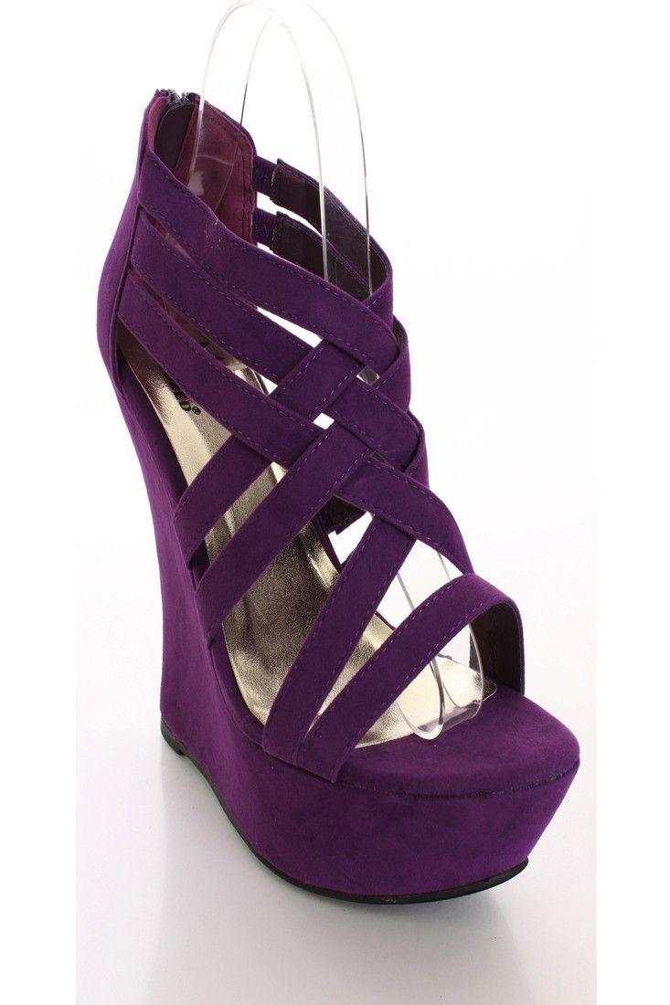 708b85c697f purple Wedge Shoes