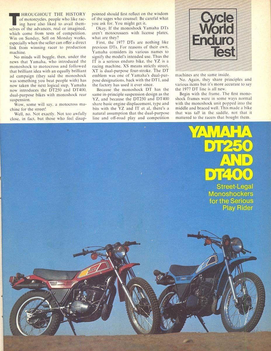 Cycle World Yamaha DT250 400 Test | eBay | 1977 Yamaha