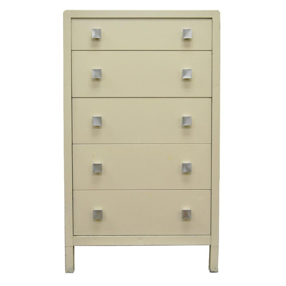 simmons metal furniture. Industrial Simmons Tall Metal Dresser / Chest Norman Bel Geddes For Furniture