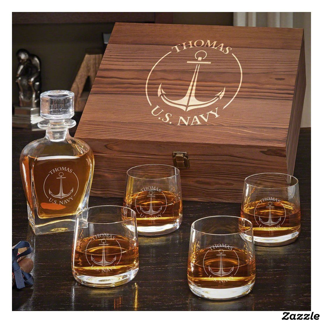 U S Navy Benson Glass Set With Draper Decanter Zazzle Com Whiskey Gift Set Whiskey Gifts Whiskey Lover Gifts