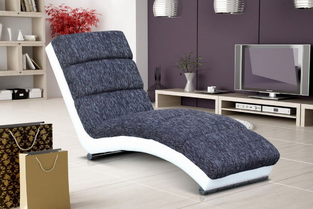 Fauteuil Relax Long Moderne En Tissu Gris Anthracite Et écocuir Blanc - Fauteuil relax tissu