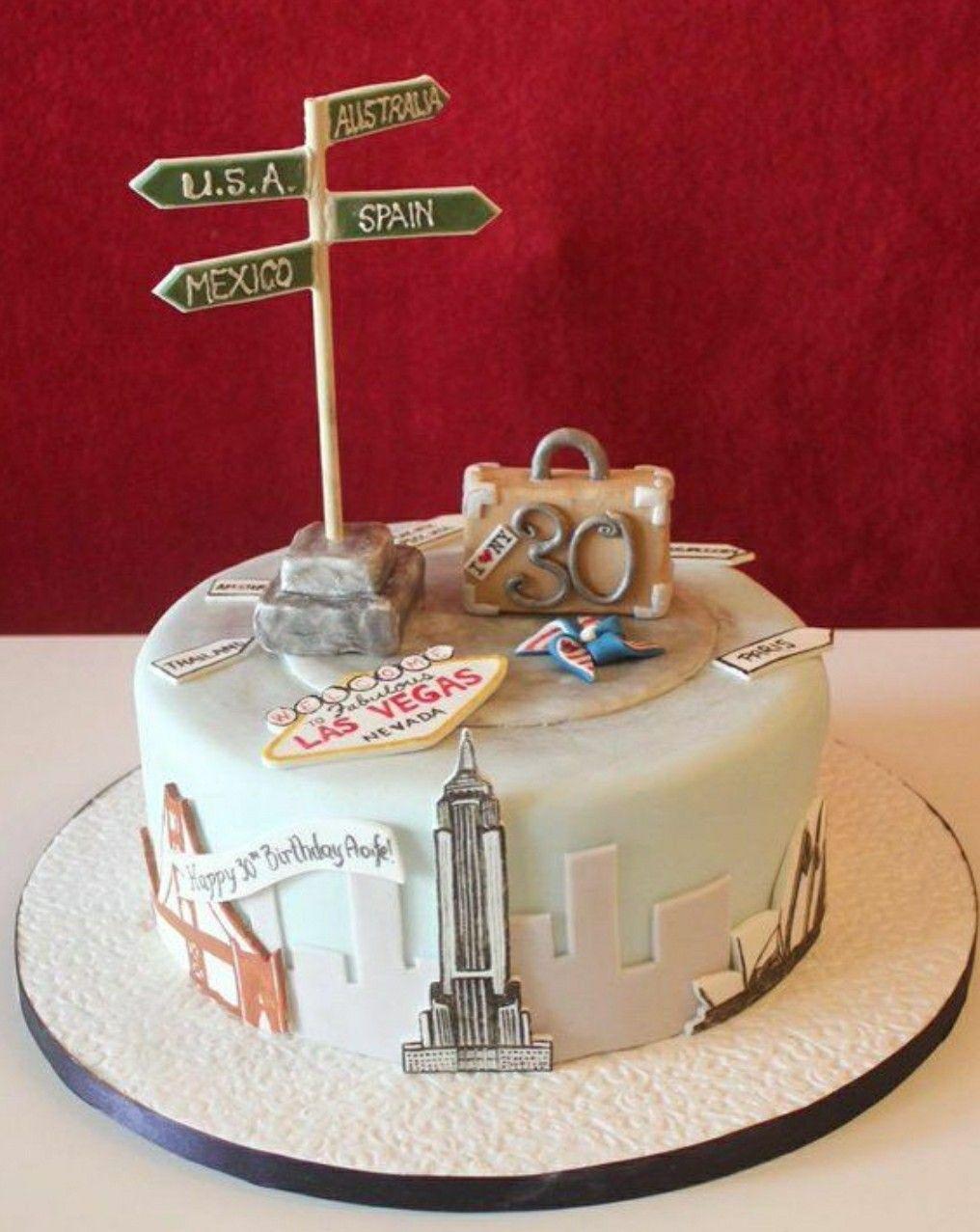 Marvelous Signpost Travel Cake Travel Cake Farewell Cake Birthday Cake Birthday Cards Printable Giouspongecafe Filternl