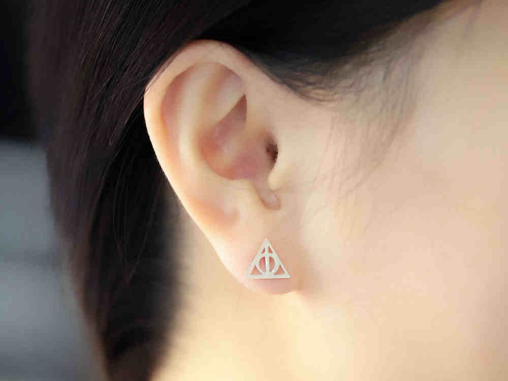 96d4273fc Silver Harry Potter Deathly Hallows Stud Earrings   Harry Potter ...