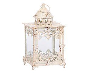 Lanterna in metallo e vetro Claudiette bianco - 41x20x20 cm