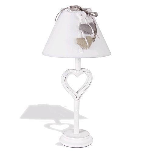 Lampada da tavolo romantica con paralume e cuori arredo