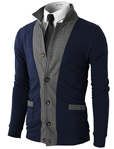 H2H Mens Two-tone Herringbone Jacket Cardigans | Cardigans For Men ...
