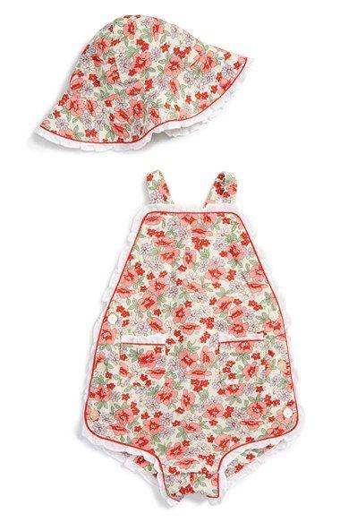 7948be7c30b07 Ralph Lauren Floral Print Linen Blend Romper   Hat Set (Baby Girls ...