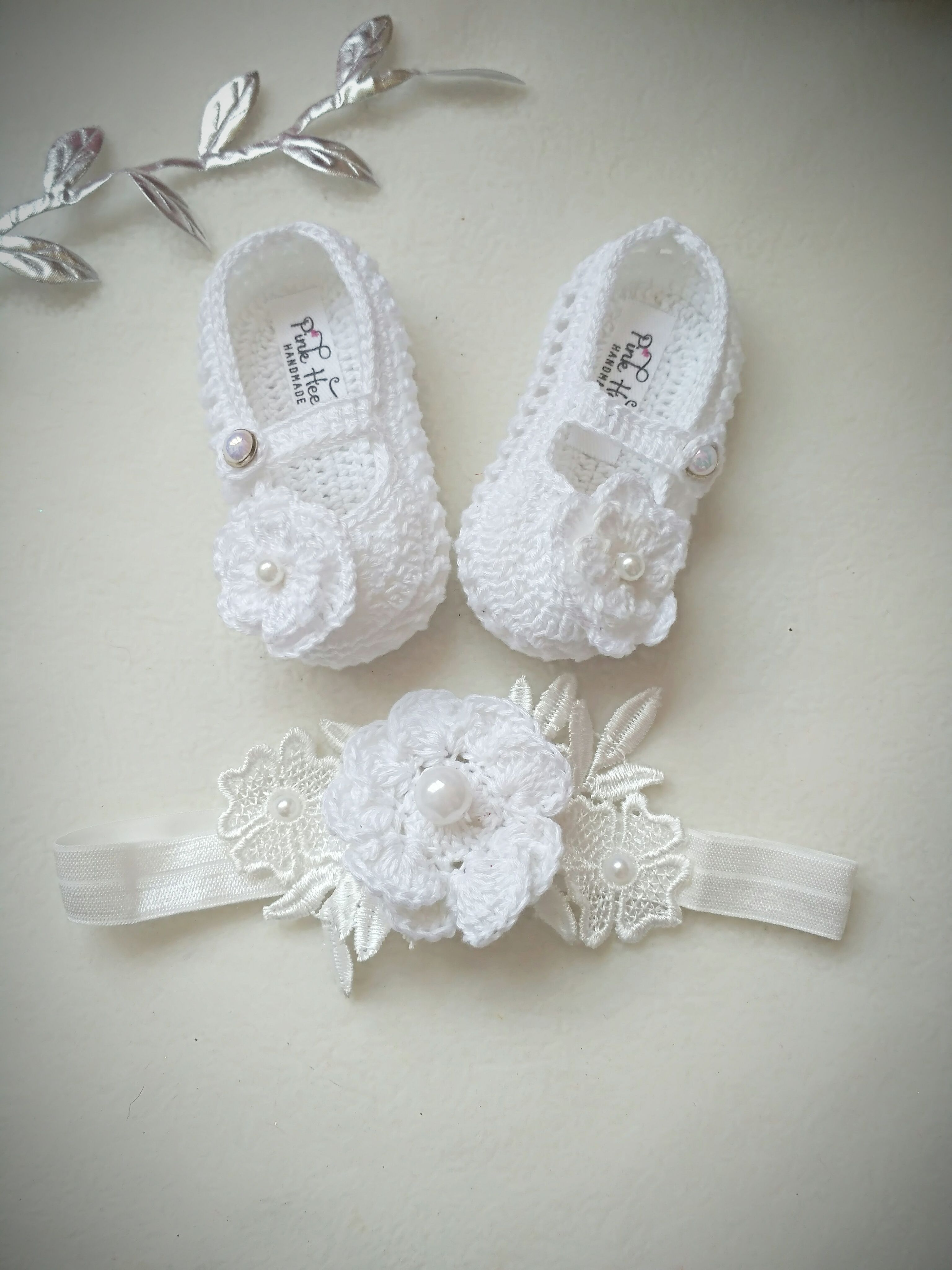 HANDMADE WITH LOVE WHITE CROCHET  BOOTEES