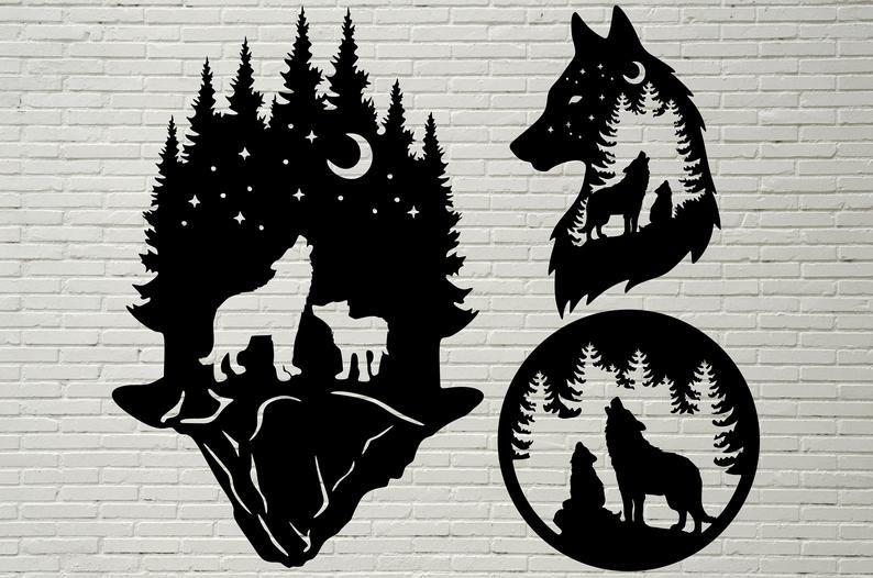 eps dxf pdf png svg ai Files Wolf Clipart Silhouettes Scene Plasma CNC