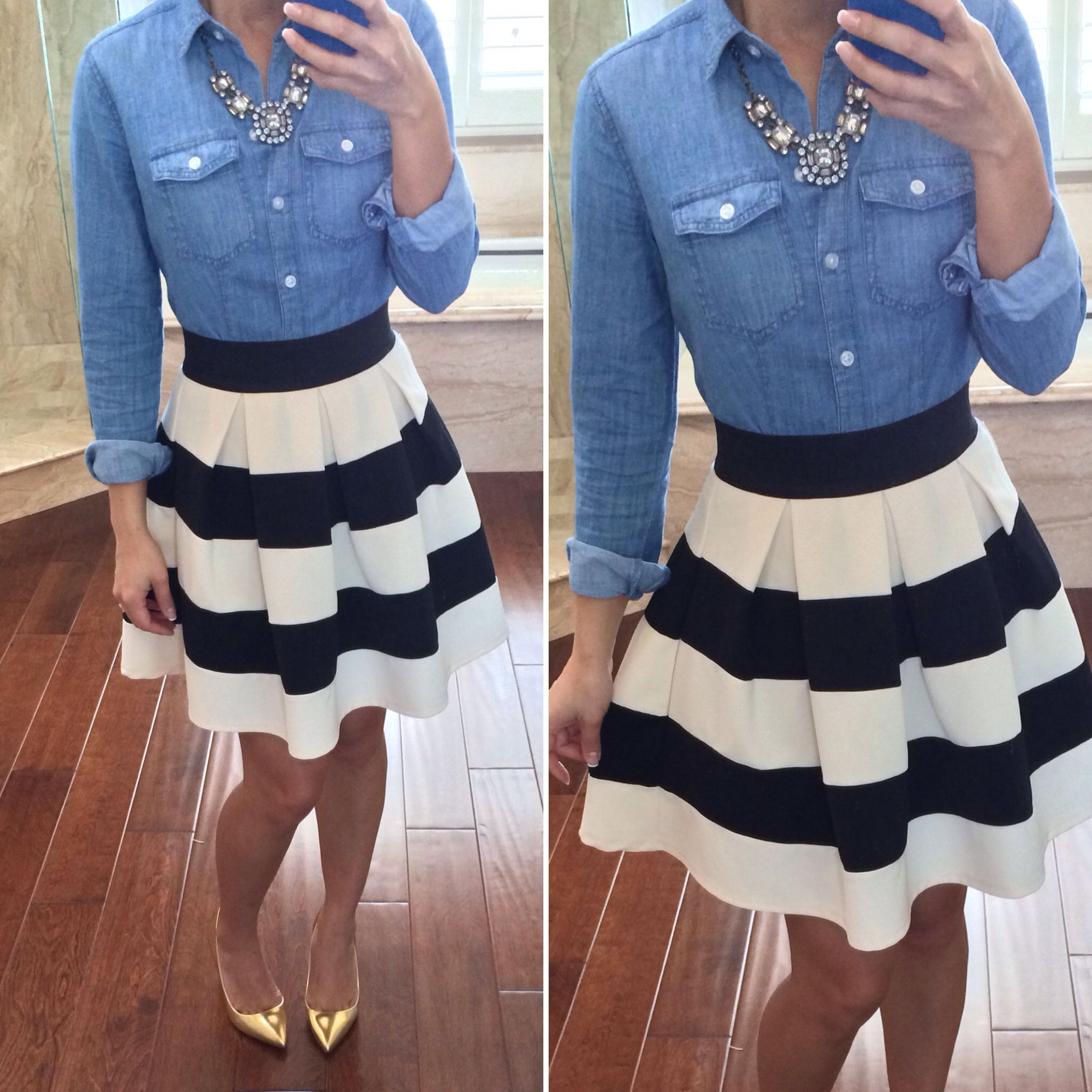 Casual but classy dressy weekend outfit: Chambray button up shirt, statement necklace, striped skirt, gold pumps - StylishPetite.com