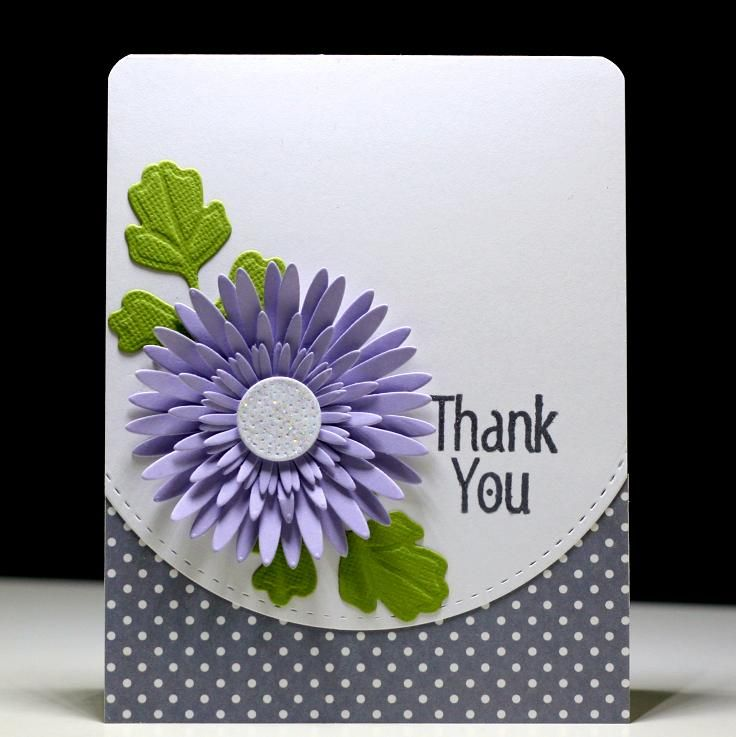 Thank You Purple Mum - Scrapbook.com Lil'Inker dies - My Favorite Things Die-Namics  Gerbera Daisy dies
