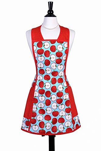 Gentil SuzyQ Vintage Style Womens Kitchen Apron Market Apples Aqua And Red With  Large Pockets | Cool Furniture 4 | Pinterest | Kitchen Aprons And Apron