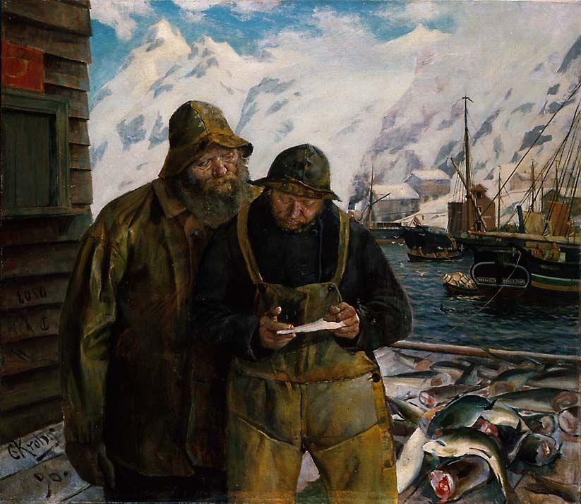 Lofotbrev 1896 Christian Krogh Norwegian 1852 1925 Oil On Canvas National Gallery Oslo Fishermen Read A Lett Street Art Artists Maritime Art Painting