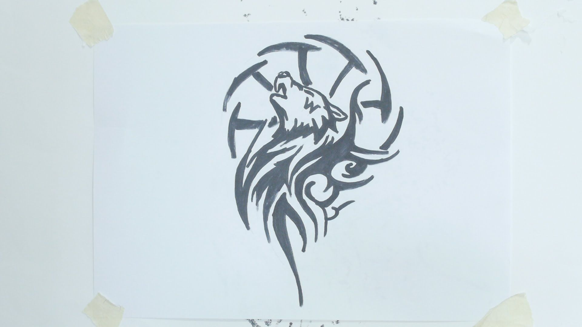 How To Draw Wolf Head Tribal Tattoo 4 Wolf Drawing Tribal Tattoos Tribal Wolf