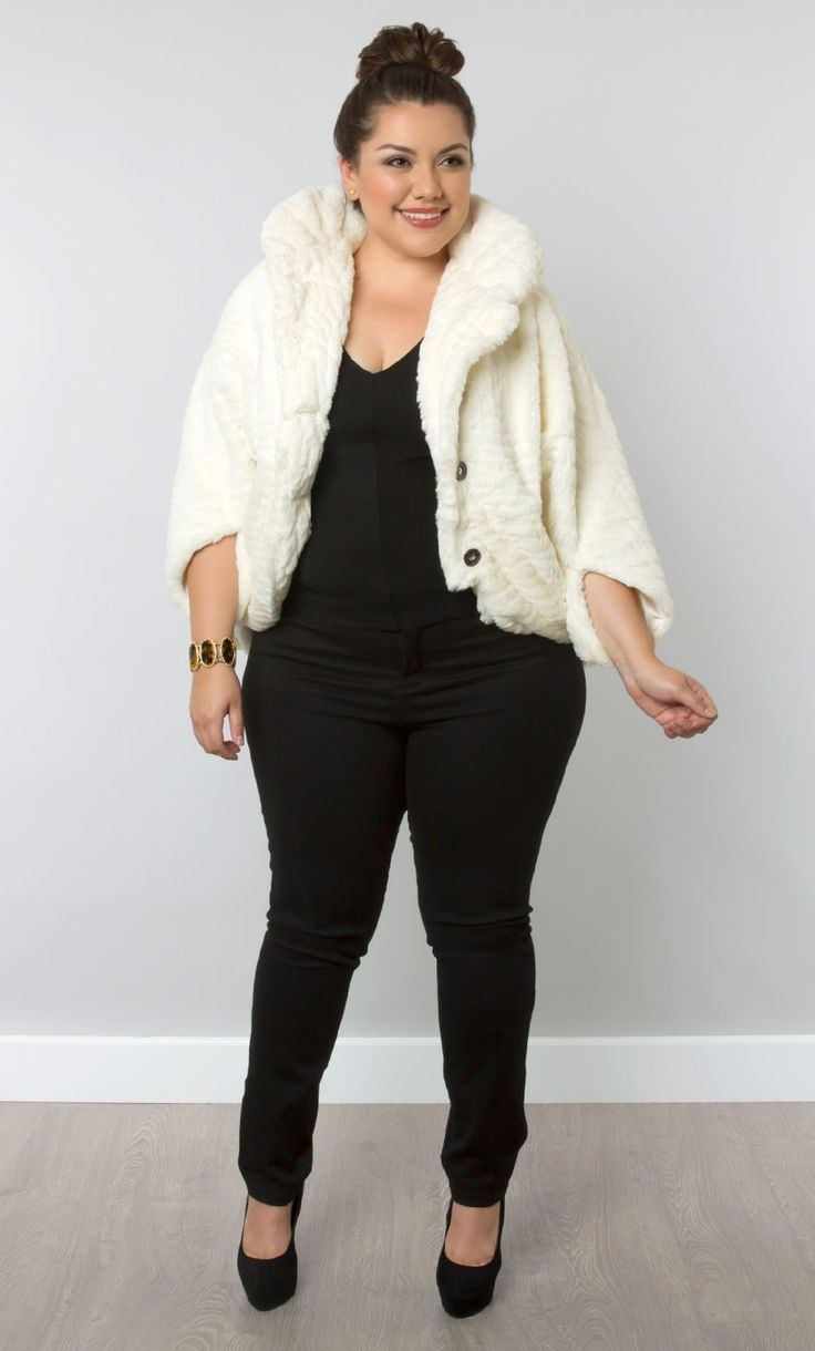 How to combine plus size casual outfits with a faux fur coat ...