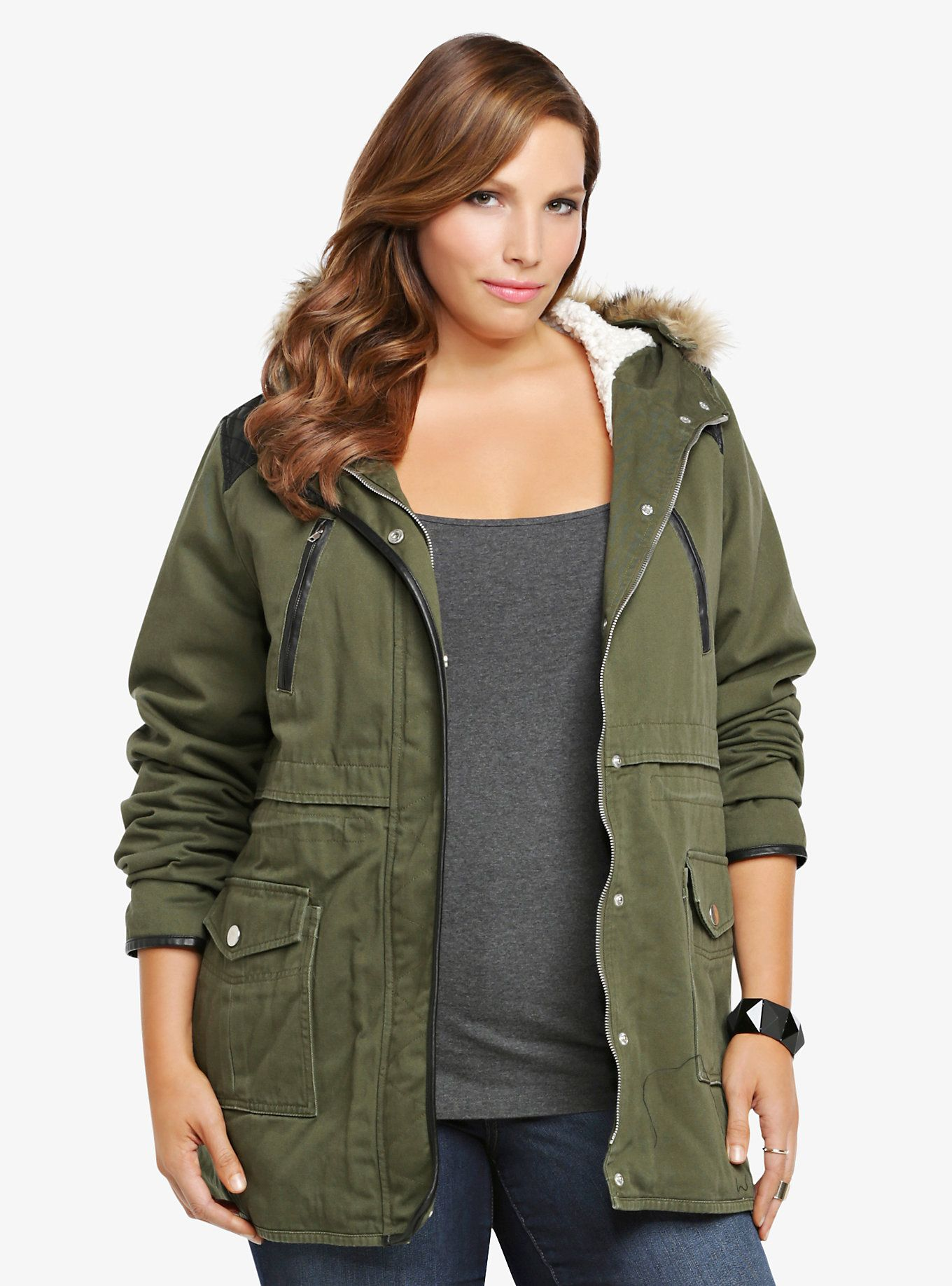 Sherpa Lined Twill Jacket Anorak jacket, Jackets, Torrid