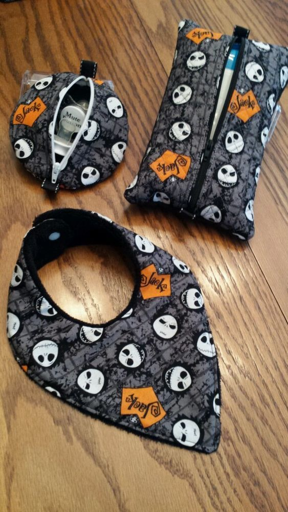 nightmare before christmas baby wipes case pacifier pod bib 3 pc gift set handmade