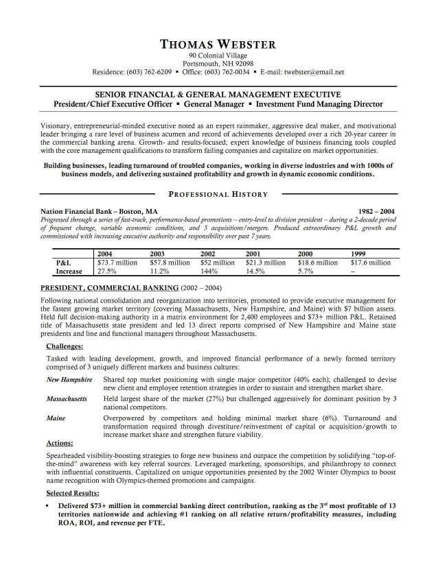 Banking Executive Resume Example -    topresumeinfo banking - knock em dead resume templates