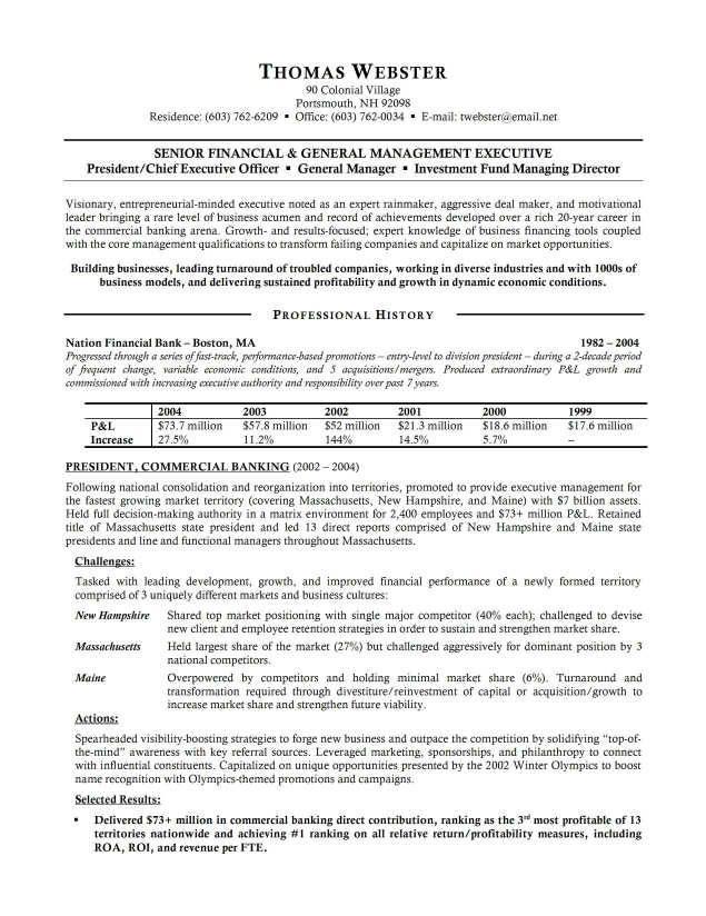 Banking Executive Resume Sample Resumesdesign Executive Resume Resume Examples Business Resume