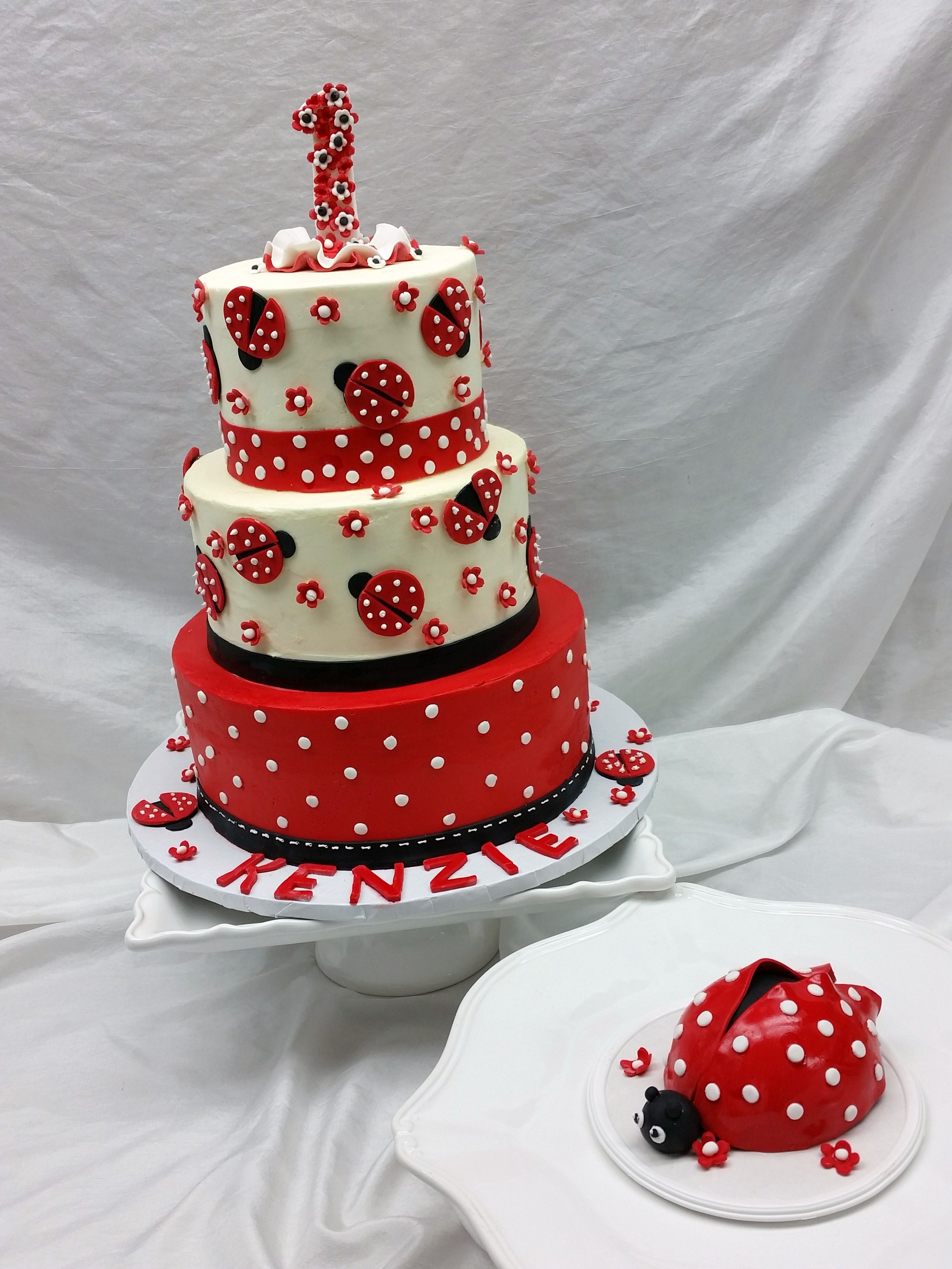 1st Birthday Ladybug Cake with Ladybug Smash Cake   IncrEdible ...