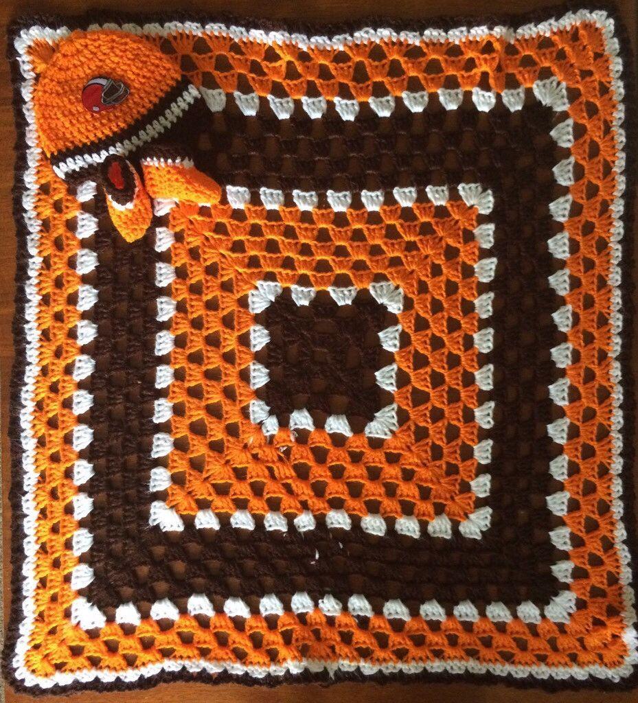 Cleveland Football Crochet Baby Blanket Gift Set Handmade Crochet