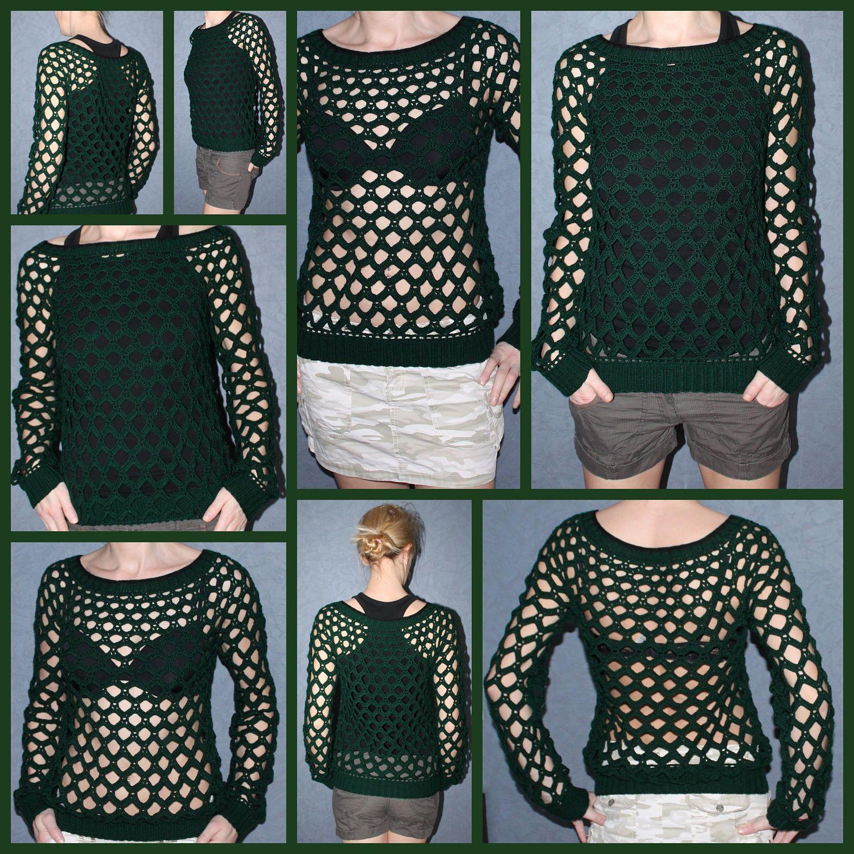 Hand Knit Sweater Holey knit sweater Crochet Sweater Open stitch ...