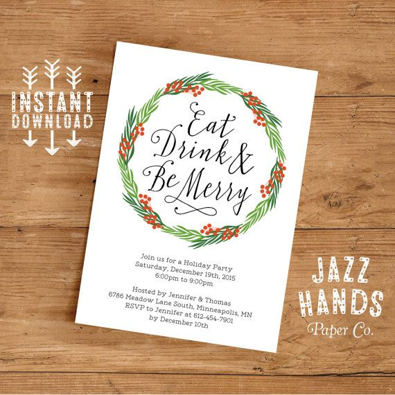 eat drink and be merry invitation template diy printable holiday