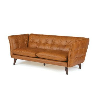 Go Home Kent Leather sofa 81x33x31  20% off #tanleather #leathersofa #modernsofa #leatherfurniture