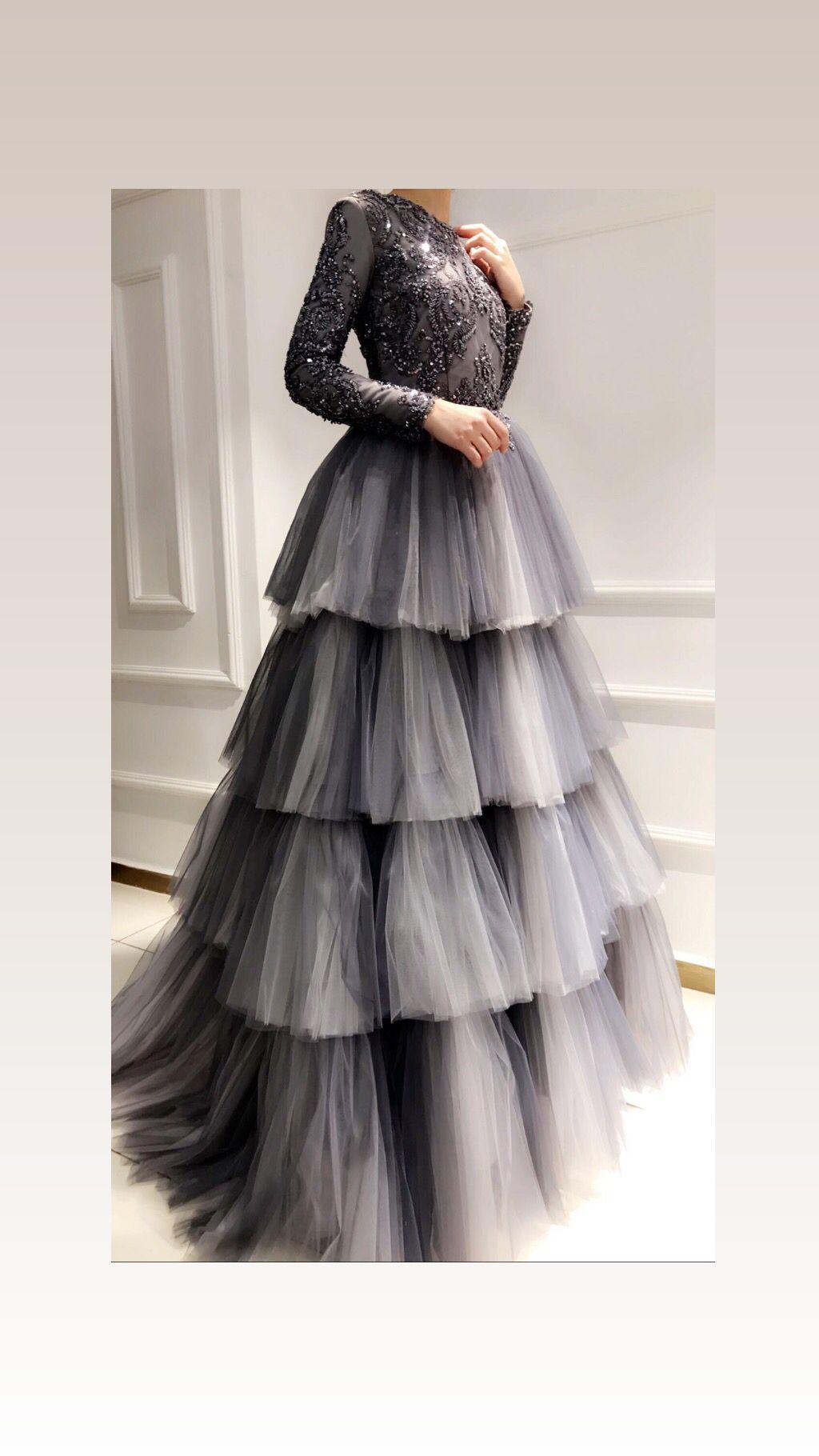 72910c68d6848 فستان مطرز وخامت التول Grey Gown, Gray Dress, Ruffle Dress, Dress Skirt,
