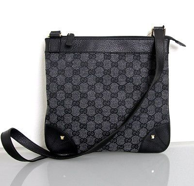 NEW Authentic GUCCI GG Canvas Crossbody Sling Bag Messenger BAG Gray 272396